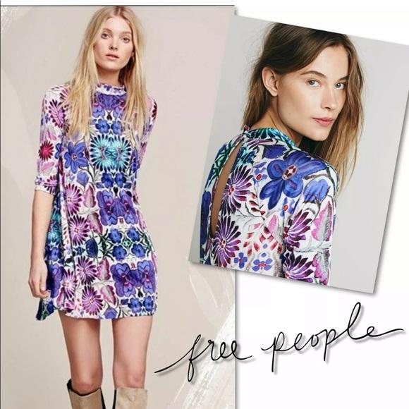 Free People Dresses & Skirts - FREE PEOPLE FIESTA FLORAL MOCK NECK DRESS SZ XS